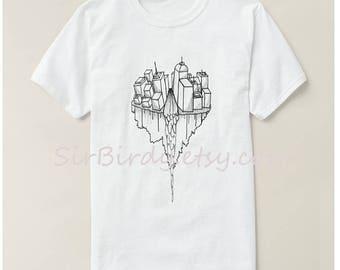 Sky city tshirt unisex shirt original artwork 100 percent cotton t-shirt womens mens ladies Small up to 3x modern art buildings skyscape