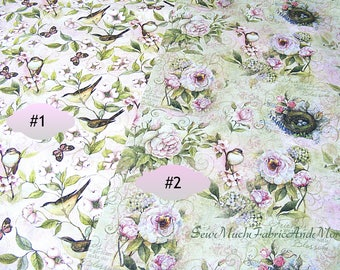 Birds & Roses fabric-By the yard or 1/2 yd-2 designs-Rose Divine Love-Flowers-Floral-Nature-Springs Creative-Inspirational-roses