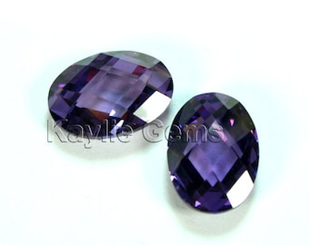 10x14mm Oval Cubic Zirconia CZ Double Faceted Checker Cut - Purple Amethyst- 1pc