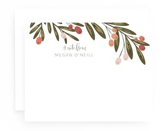 Personalized Stationery Flat Card Set of 12 | Floral Personalized Cards with Hand Lettered Calligraphy : Berry Grove Custom Stationery Set