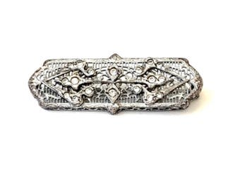 Art Deco Filigree Brooch, Rhodium Plated, Open Work, Bar Pin, Clear Rhinestones, Ornate, 1920's, Antique jewelry, Vintage Gift For Her