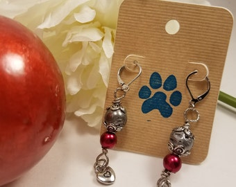 Red & Silver Lava Bead Drop Earrings, Valentine's Day