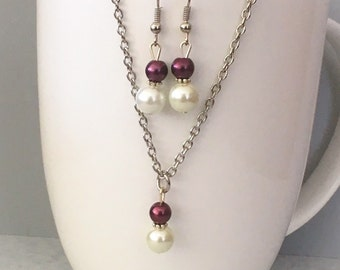Burgundy bridesmaid necklace set, Burgundy necklace set, burgundy bridesmaid jewelry, burgundy necklace, glass pearl necklace