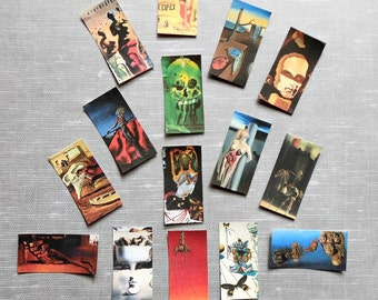 18 PRINTED Salvador Dali Domino Tile STICKERS- 2 sizes: Lamination or not Abstract art surrealism art stickers Dali art prints art stickers