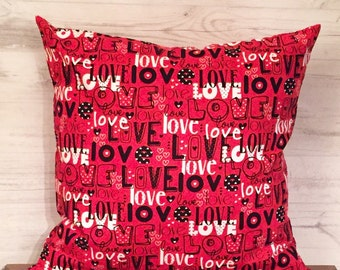 Red Valentines Day Pillow - Love Pillow - Red Pillow Cover - Valentines Day Decor - Valentines Pillow - Red and Black Pillow - Throw Pillow