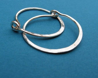 """sterling silver hammered hoops 1 inch 1"""""""