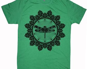 Men's DRAGONFLY Mandala Tee Floral Leaves Insect Skeleton Sacred Geometry T-Shirt