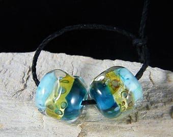 Handmade Lampwork Beads~Gypsy Ocean~Boho~Lampwork Pairs