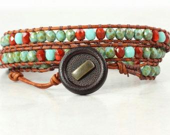 Leather Bracelet Burnt Orange Bracelet Army Green Wrap Bracelet Turquoise Jewelry Natural Leather Brown Wrap Bracelet Autumn Fashion Boho