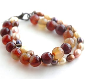 Pearl Bracelet, Double strand bracelet, Stone, Agate, Semiprecious, Gift for her, Multicolor stones, Brass Jewelry