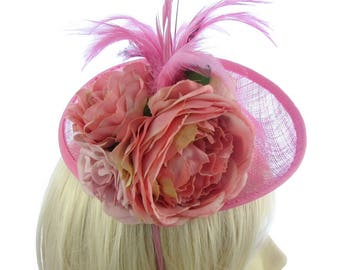 Large pink Rose upturn hat with headband, Weddings, Races,Ascot, Ladies Day