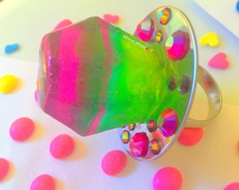 Ring Pop Watermelon, Fruit Jewelry, Resin Jewelry, Kawaii Jewelry, Kitsch Jewelry, Ring Pop Ring, Candy Ring, Candy Jewelry