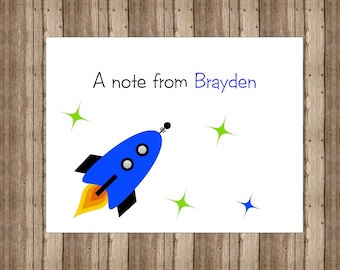 PERSONALIZED ROCKET NOTECARDS for Boys/Rocket Space Notecards/Space Rocket Stationery/Boxed Set of 10/Personalized Thank You Card/Space Card