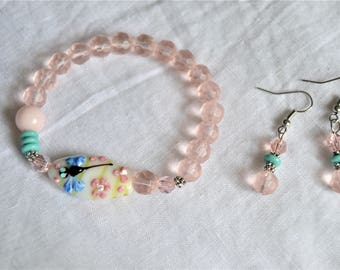 HANDBLOWN GLASS DRAGONFLY Bead Pink Jade and Pink Glass Beaded Stretch Bracelet Matching Earrings