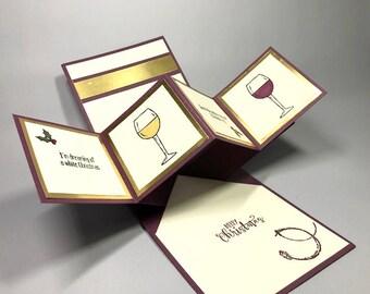 Pop-Up Twist panneau carte de Noël - White blanc - vin rouge - Stampin '! Carte de Noël - verre à vin complet demi - cartes de Noël