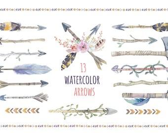 Watercolor boho arrows & bouquets. Tribal wedding bohemian digital Clip art. Rustic POW WOW invitation. Arrow Graphics. Tribal Arrow Clipart
