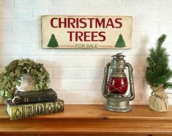"""Christmas trees for sale   Christmas sign   Christmas decor   rustic wood sign   Christmas mantel decor   20"""" x 7.25"""""""