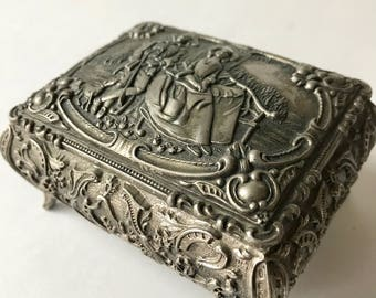 Vintage Ornate Small Metal Trinket Box Chest Victorian Images Hinged Lid Red Velvet