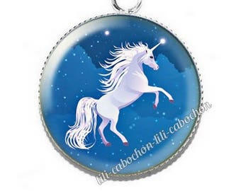 A52 Unicorn resin cabochon pendant