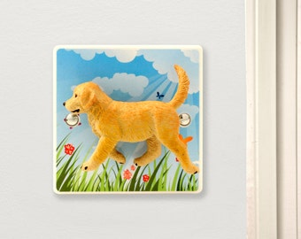 Decorative Dog Light Switch - Nursery Dimmer Switch - Cute Golden Retriever Dog Gift - Unusual Gift For Dog Lovers - Dog Gifts - Dog Light