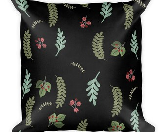 Green leaves Pillow - Botanical Winter and Fall, berries, nature, black background throw pillow by Glimmersmith