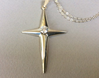 Revere Sterling Silver Cross and CZ Sterling Silver Chain Necklace
