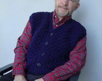 Grandpa Gift, Men's Wool Vest, Vests, Men's Sweater Vest, Navy Blue Vest, Crochet Sweater, V-Neck Sweater, Grandparent Gifts, Available in L