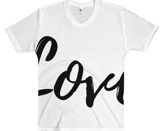 Men's V-Neck T-Shirt Love Short Sleeve