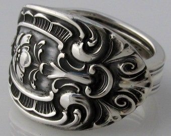 Sterling Spoon Ring Size 6 to 10 Southern Graneur Solid Sterling Silver