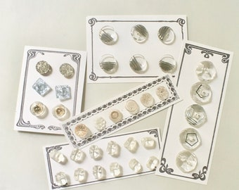 Vintage Clear Czech Glass Buttons for Sewing and Crafts