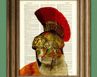 King Leokittiness the Spartan Cat defends the food bowl cat in helmet illustration beautifully upcycled dictionary page book art print