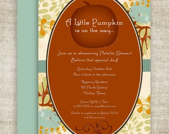 Little Pumpkin Lil' Punkin' BABY SHOWER Invitations Invite Brown Blue Orange Floral Digital diy Printable Personalized - 109290267