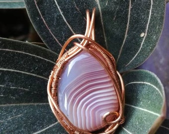 Wirewrapped agate pendant necklace