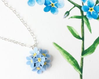 Forgetmenot pendant blue pendant flower necklace botanical jewerly forgetmenot jewerly blue flower necklace clay flowers summer gift blue