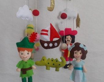 Baby mobile pirate,Piter Pen mobile,boy mobile,pirates Nursery,Island Baby mobile,Adventure nursery mobile,Ocean pirates,fairytales mobile