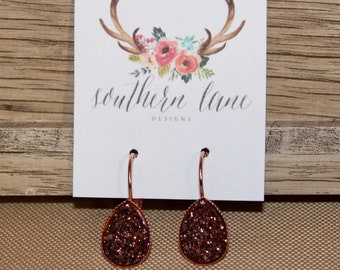 Copper Brown Teardrop Druzy Earrings
