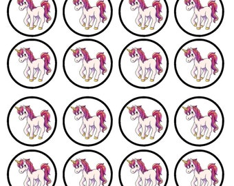 Unicorns #3 Edible Wafer Rice Paper Cake Cupcake Toppers x 24 PRECUT