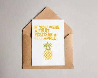 Funny Greeting Card   fine apple   goofy   love