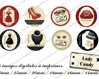 """Digital images for cabochons """"LADY CANDY"""" red (48 images) to cut and stick on your creations"""