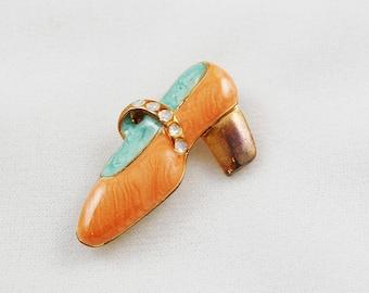 Vintage High Heeled Shoe Brooch Pin