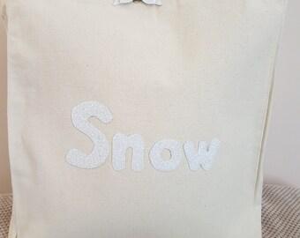 White Snow canvas tote shoulder bag