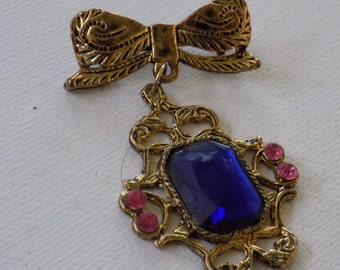Vintage brooch, blue and pink crystal 2 piece bow brooch, retro jewelry