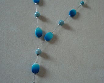 Whimsical necklace in shades of blue