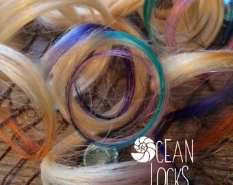 Tie Dye Hair Extensions, Clip in Hair Extensions, Human Hair Extensions,Festival Hair, Hair Extensions Clip In, Dip Dye Hair
