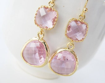 Clear pink earrings Gold and pink glass earrings pink bridesmaids, pink crystal earrings, blush gemstone earrings Blush bridesmaids earrings