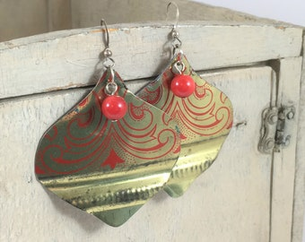 Vintage Tin Earrings in Red and Gold