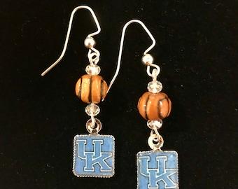 UK University of Kentucky Beaded Basketball Earrings
