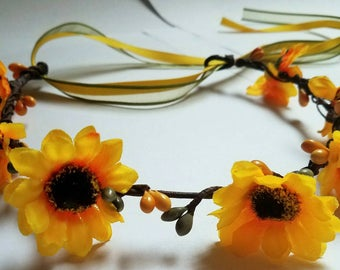 Fall Flower Crown Headband Autumn Floral Halo Yellow Sunflower Rustic Flower Girl Or Bridal Hair Wreath