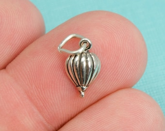 Sterling Silver Hot Air Balloon Bracelet Charm, Travel, Vacation, Jewelry, .925 Silver, DIY Bracelet, (C198)