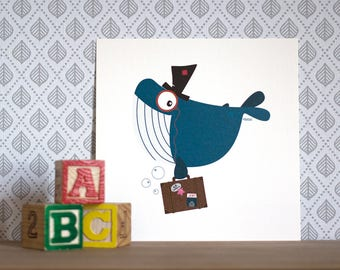 Mr. Whale the traveling whale, Print/Card 15x15cm